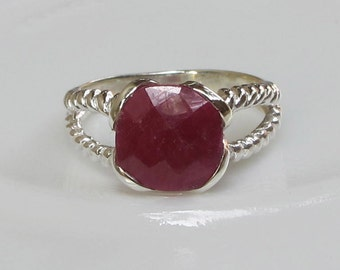 Square Ruby Ring- Birthstone Ring- Silver Ring- Gemstone Ring- Stone Ring- Ring with Stone- Ring- Jewelry Gifts- Rings for Her