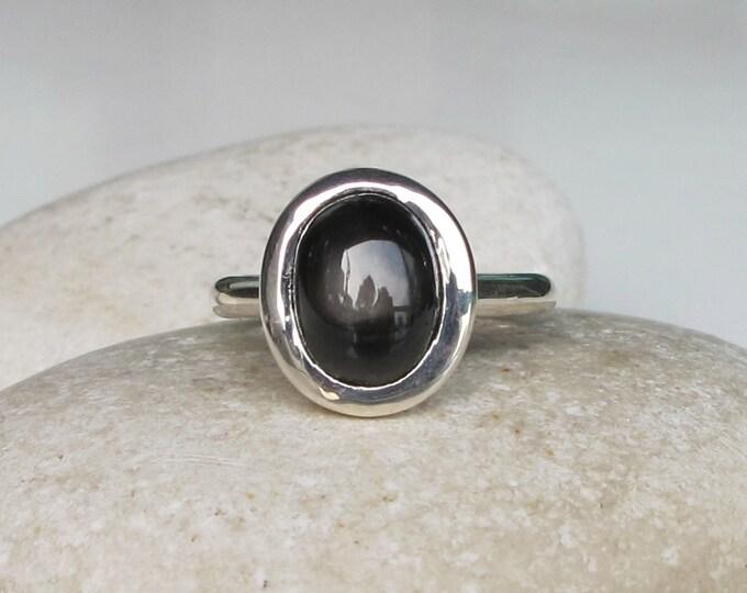 Star Sapphire Ring- Gemstone Ring- Stone Ring- Sapphire Ring- September Birthstone Ring- Black Stone Ring- Black Sapphire Ring