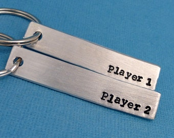 Player 1 & Player 2 - A Set of 2 Hand Stamped Aluminum Keychains