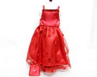 Red Satin Formal Dress for 18 inch doll like the American Girl.