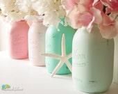 Beach Wedding Decor Painted Mason Jars Centerpiece Home Decor Vase Pink Aqua