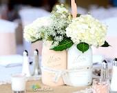 Spring Blush Wedding Decor Centerpiece Painted Mason Jar Vase