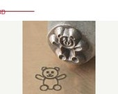 HUGE 40% Off SALE Teddy BEAR animal Stick Figure - 6mm - New Design -  metal jewelry design stamp - by Impressart