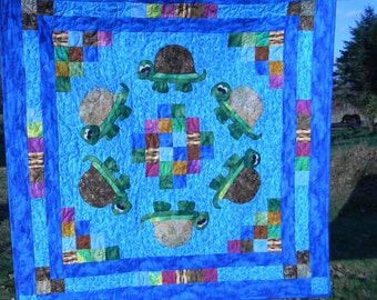 Turtles In The Pond Crib Quilt