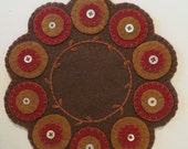 Felt Penny Rug with Embroidery & Buttons, Earth Tones, Penny Mat, Candle Mat, Brown Felt Penny Rug, OFG team, FAAP, Fiber Art, Felt Mat