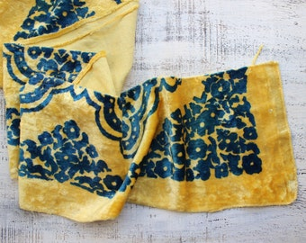 "Vintage plush fabric yellow blue 8""x51""x2 pieces"