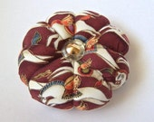 Pincushion HORSE FABRIC. Great for a sewing gift - Round Pin cushion double sided. White Mythical horses. Pins Needle Holder. gold accents