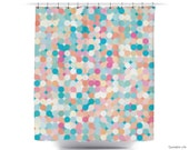 Circle Explosion // Polka Dots // Multi Colors // Great For Teen Girls Bath // Shower Curtain