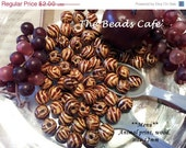 ON SALE 12mm Animal Print Wood  Beads