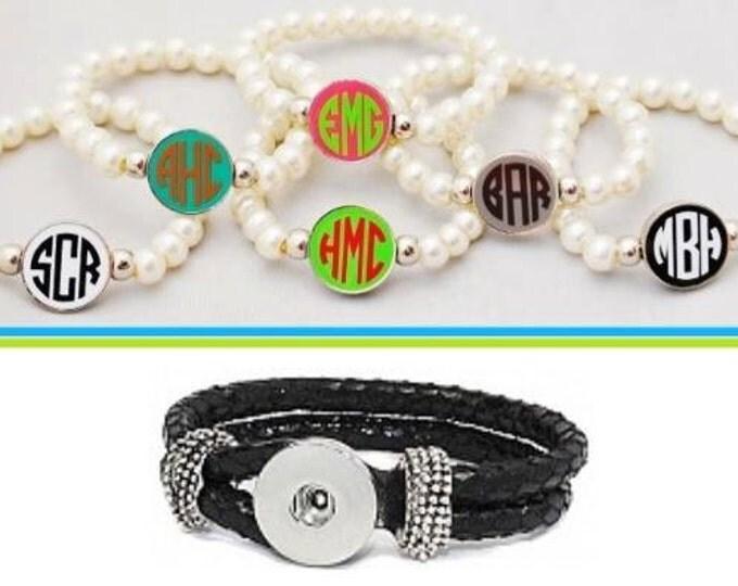 Pearl Monogrammed Snap Bracelet, Black Leather Monogrammed Bracelet, Snap Charm Bracelet