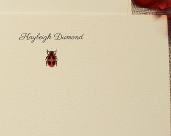 Ladybug Personalized Note Cards Set of 24 Notecards With Envelopes