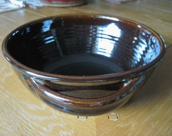 Jugtown Pottery, Seagrove North Carolina, Tobacco Spit Brown, Serving Bowl 1983