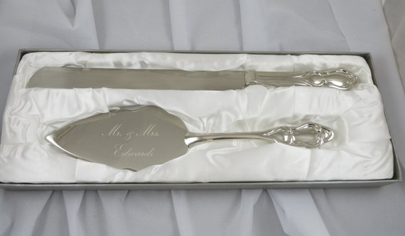 Wedding Cake Server and Knife Set Personalized