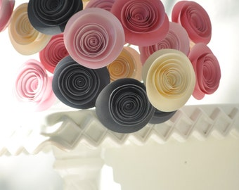 24 Pink, Gray and Ivory Paper Flowers on Stems- Bouquet of Paper Flowers-  Home Decor