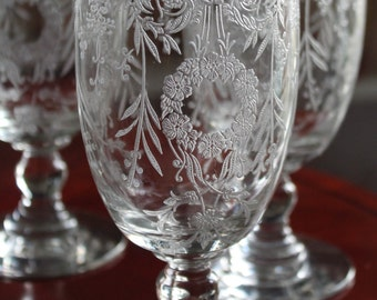 Exceptionally Beautiful Heisey Etched Glasses - Belvedere Pattern