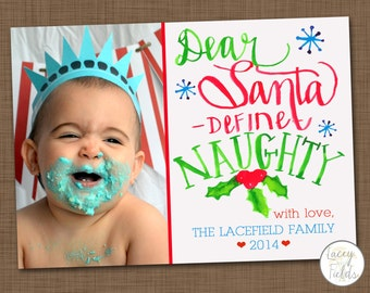 Handlettered Christmas card- Watercolor christmas card- funny christmas card- dear santa define naughty- silly holiday card