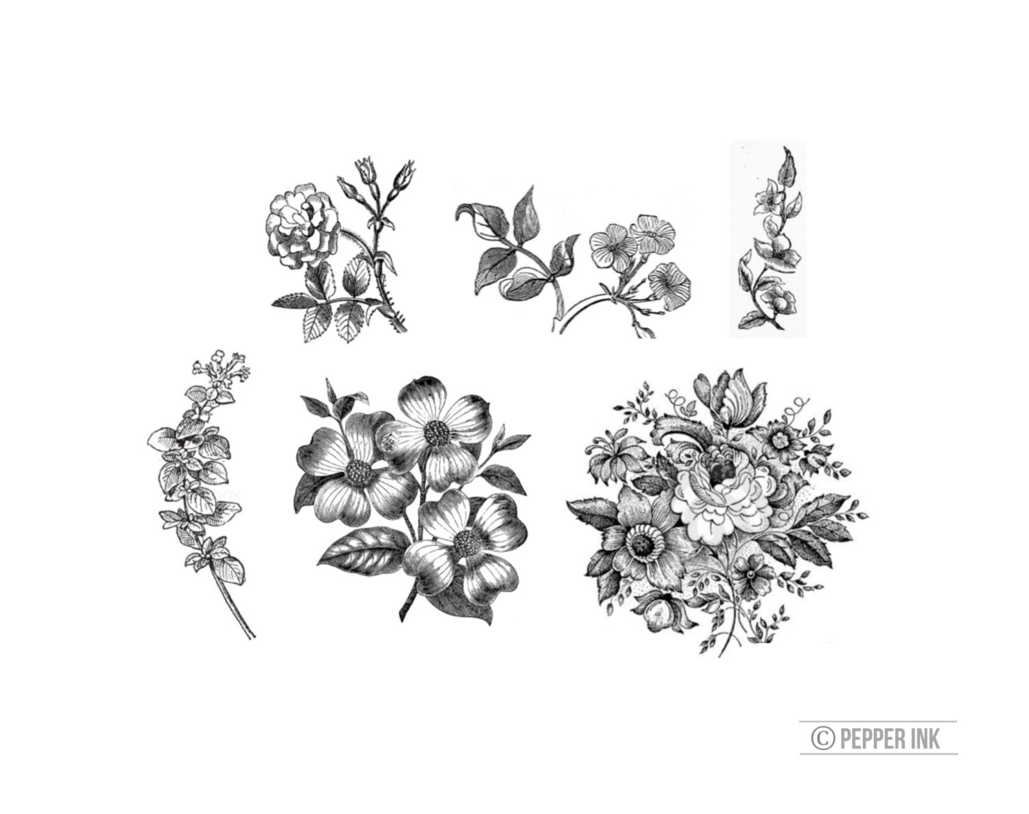 Vintage Black And White Floral 6 Temporary Tattoos