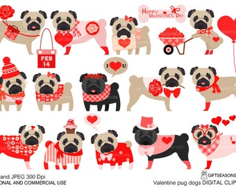 Valentine pug dogs Digital clip art for Personal and Commercial use - INSTANT DOWNLOAD