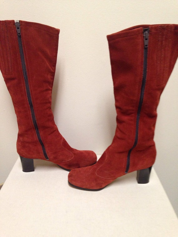awesome vintage rust colored suede boots go go 1970s