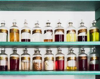 Vintage Glass Apothecary Pharmacist Medicine Bottle Medicinal Colorful Jar Still life Glassware antique Photo Print