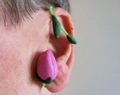 Pink tulip adjustabel Fimo wrap earrings / polymer clay flower and leaves on plastic with iron wire/ make them fit your ear