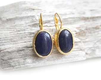 Gold Plated Oval Dark Indigo Jade Earrings