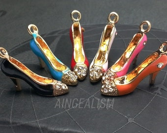 High Heel Shoe Charm, Multiple Colors with Crystal Rhinestones Enamel Shoe Charm - CH0107