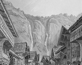 SWITZERLAND Meyringen Place of Sherlock Holmes Demise - 1860 Original Steel Engraving Print