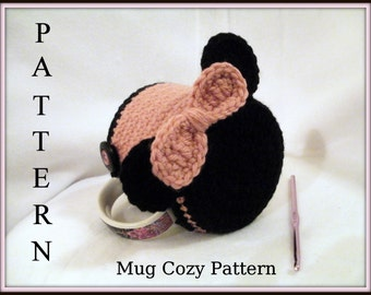 Crochet Mug Cozy PATTERN  Mickey and Minnie Mouse Inspired Mug Cozy and Coaster in One