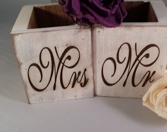 Rustic Mr & Mrs Wooden Box Centerpiece, Handmade Wedding Décor, Laser Etched
