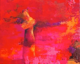 Figure, pink lady, small abstract painting, SHE.