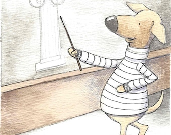 Original watercolor illustration dog in striped turtleneck teaches art history
