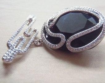 May Brooch Swarvoski Pin Crystal Pave rhodium-plated Jet Crystal