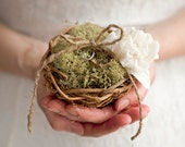 Nest Ring Bearer Pillow with Silk Flower and Moss Woodland Wedding Decor Twig Ring Pillow Alternative Ring Holder Rustic Wedding