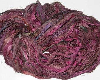 Recycled Sari Silk Ribbon Yarn,3.5 oz / 100 grams, 60 yards Bulky,old rose