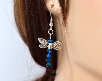 Dragonfly Earrings in Silver and Glittering Blue, Gift for Gardeners