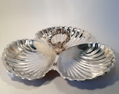 3 Part Server Silver Plate Scalloped Edge, Vintage Seashell Silver Plate Server 3 part