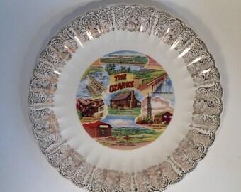 The Ozarks Souvenir Plate, Vintage 1950's Souvenir Plate Arkansas Lake of the Ozarks Very Good Condition