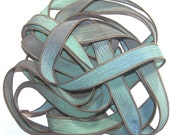 Sassy Silks Hand Painted Wrist Wrap Ribbon Blue Lagoon