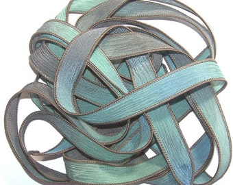 Sassy Silks Hand Painted Wrist Wrap Ribbon Blue Lagoon