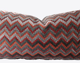 Decorative, Chevron Zig Zag, Grey Pillow Cover, Chenille 18x18, 20x20, 22x22 or Lumbar Throw Pillow
