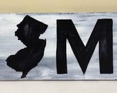 New Jersey Home State Handpainted Wood Sign, 7.5x24