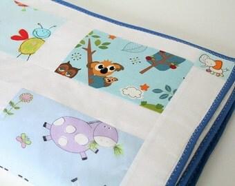 Modern Baby Quilt, Baby Boy Bedding, Blue Nursery Bedding, Personalized Patchwork Baby Boy Quilt, Boys Cot Comforter, Animals Crib Quilt