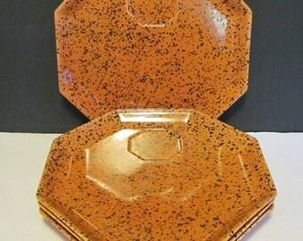 Georges Briard Snack Plates Orange Black Splatter Octagonal