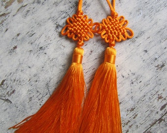 Chinese lucky knot tassels - ORANGE with smaller knot, one pair of orange decorative knot tassels, Chinese lucky tassels, orange tassels - 2