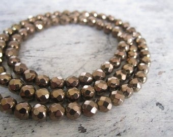 """Copper hematite beads - one strand of 4mm faceted hematite beads in copper tone, 16"""" strand hematite, copper tone hematite faceted beads"""