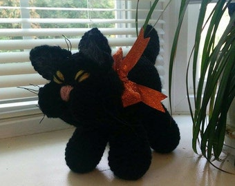 Crocheted CAT - black with orange bow