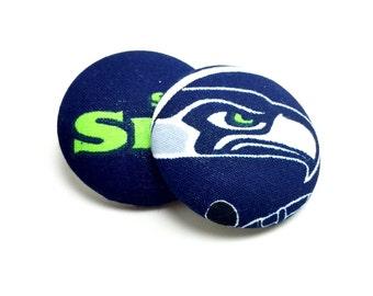 Oversized Seattle Seahawks Print Button Earrings
