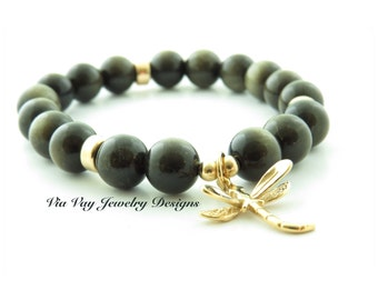 Dragonfly & Tiger Eye Bracelet with Gold Fill