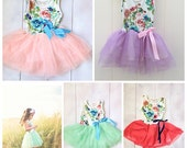 Girls Tutu Dress - Floral Girls Dress - Shabby Chic Dress - Girls Easter Dress - Birthday Dress - Summer Dress